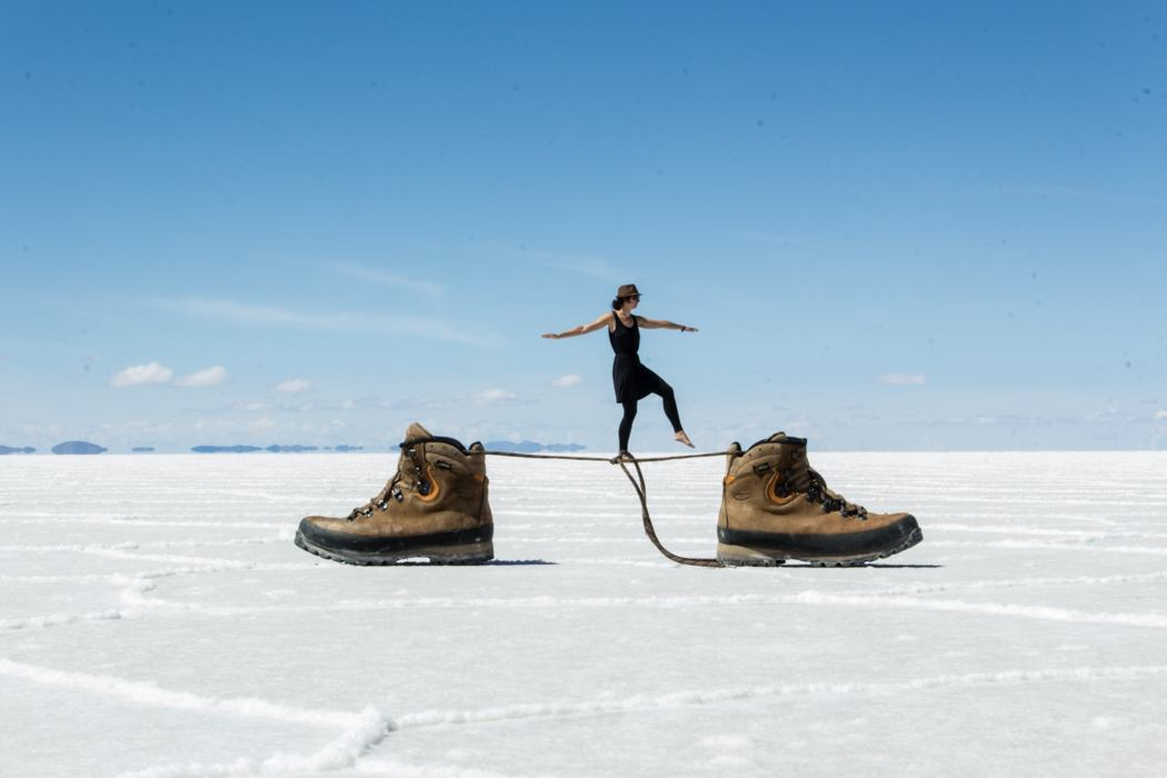Salar de Uyuni Tour: Jeep Tour über die Lagunenroute in Bolivien - Fotografieren in dem Salar de Uyuni