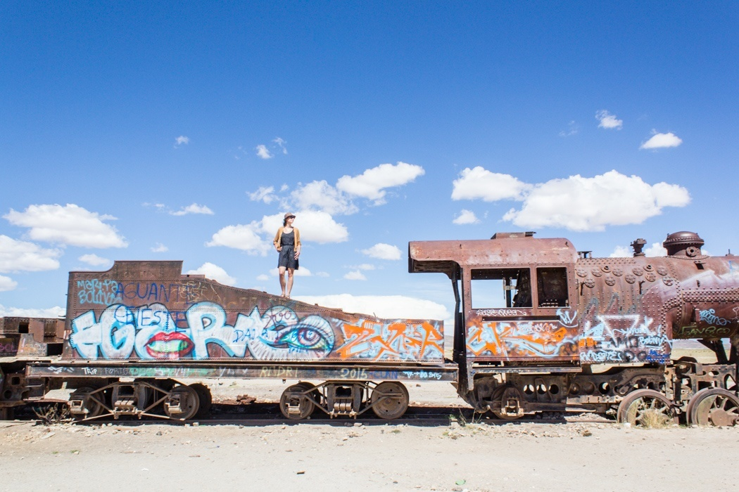 Salar de Uyuni Tour: Jeep Tour über die Lagunenroute in Bolivien - Fotospot Zugfriedhof