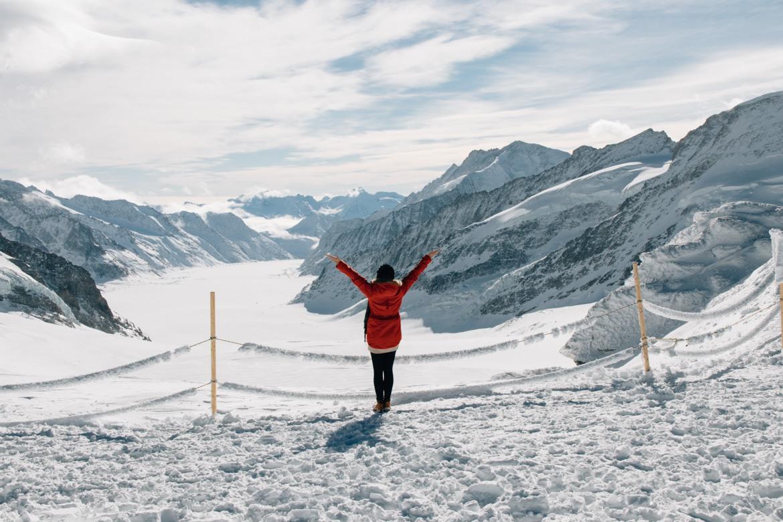 Jungfrau Region / Schweiz - Vor dem gigantischen Aletsch-Gletscher im Winter