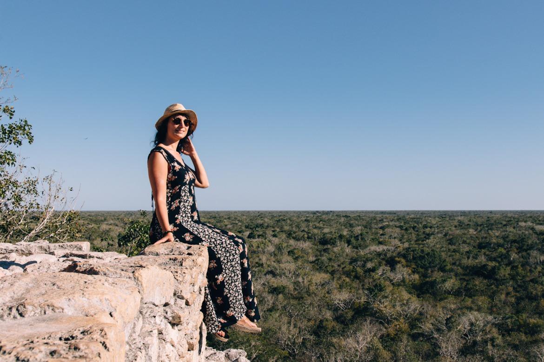 Aussicht über den Dschungel von der großen Pyramide Nohuch Mul in Coba