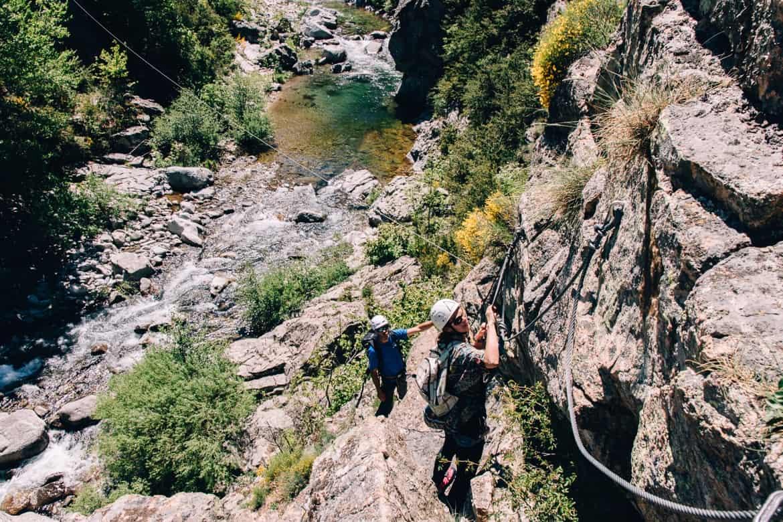 Lozere - Klettersteig Via Ferrata des Rousses: Klettern oberhalb des Jonte