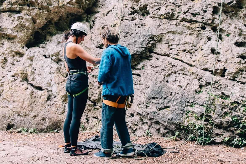 Lozere - Klettereinweisung im Cirque des Baumes