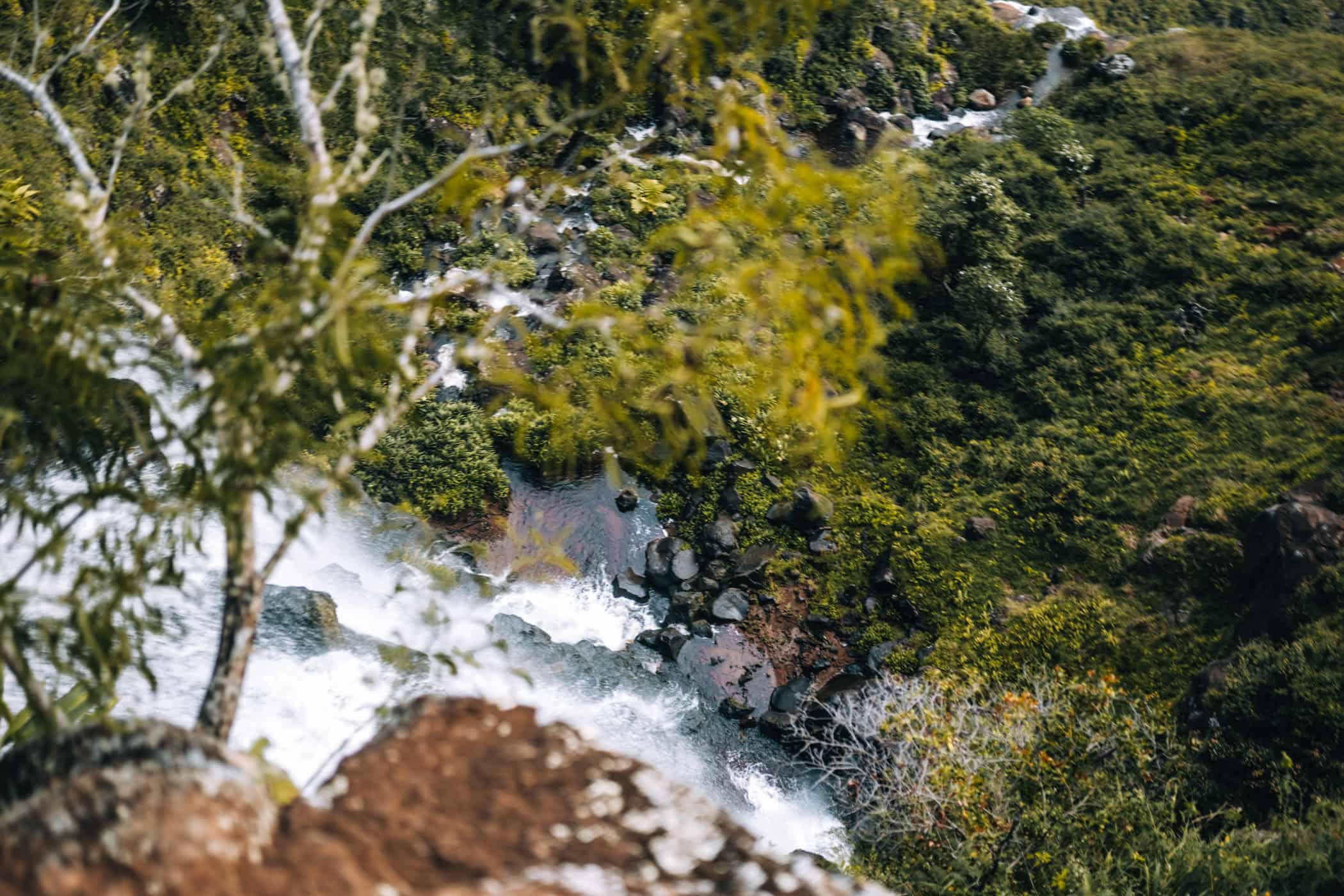 Kauai - Strände, Wandern & Ausflugsziele: Die Waipo Falls von oben