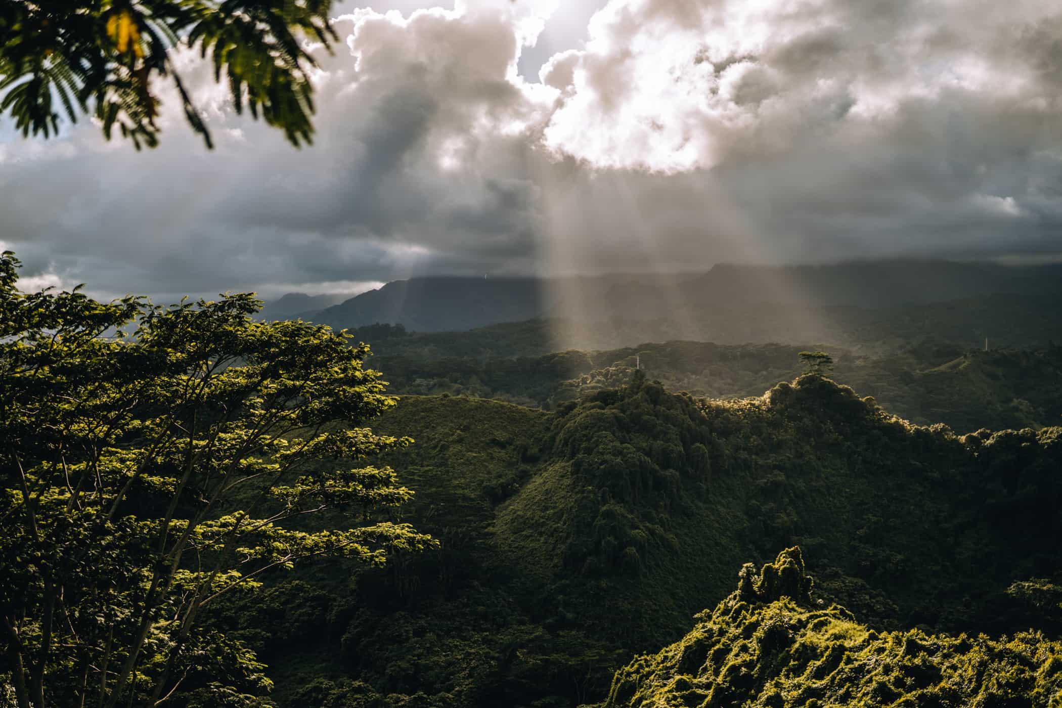 Kauai - Strände, Wandern & Ausflugsziele: Dramatische Wolken am Kuilao Ridge Trail