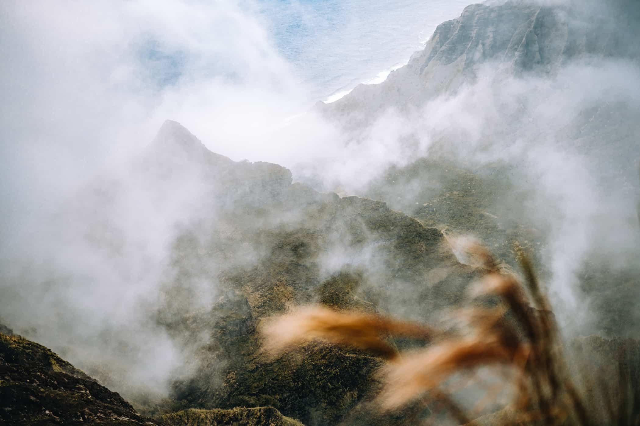Kauai - Strände, Wandern & Ausflugsziele: Nebel am Kalepa Ridge Trail
