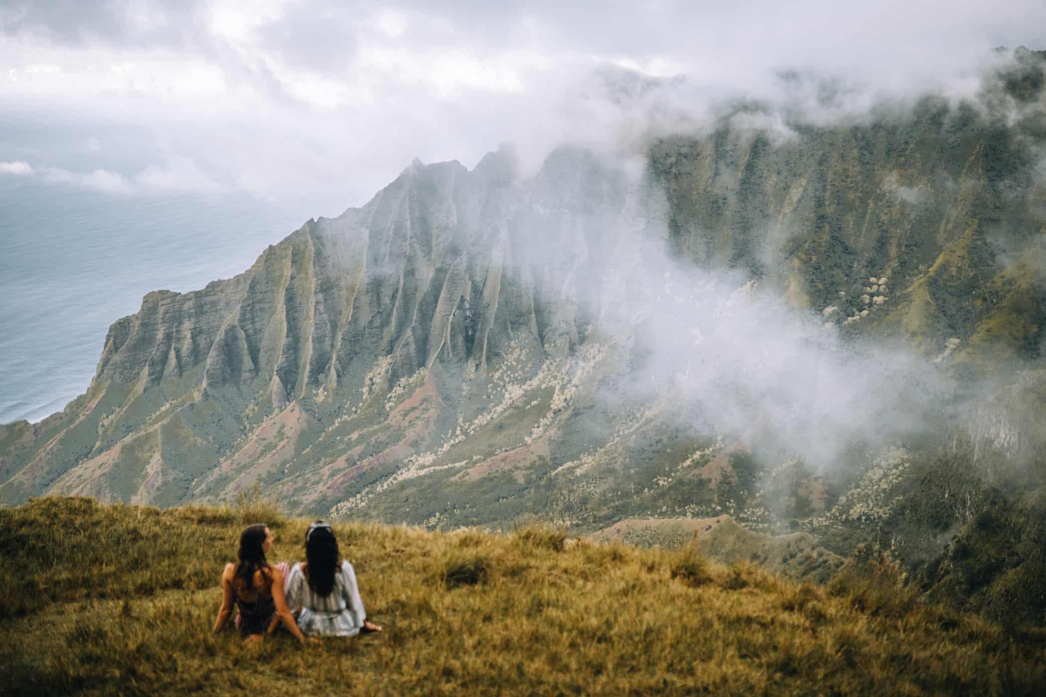 Kauai - Strände, Wandern & Ausflugsziele: Aussicht am Kalepa Ridge Trail