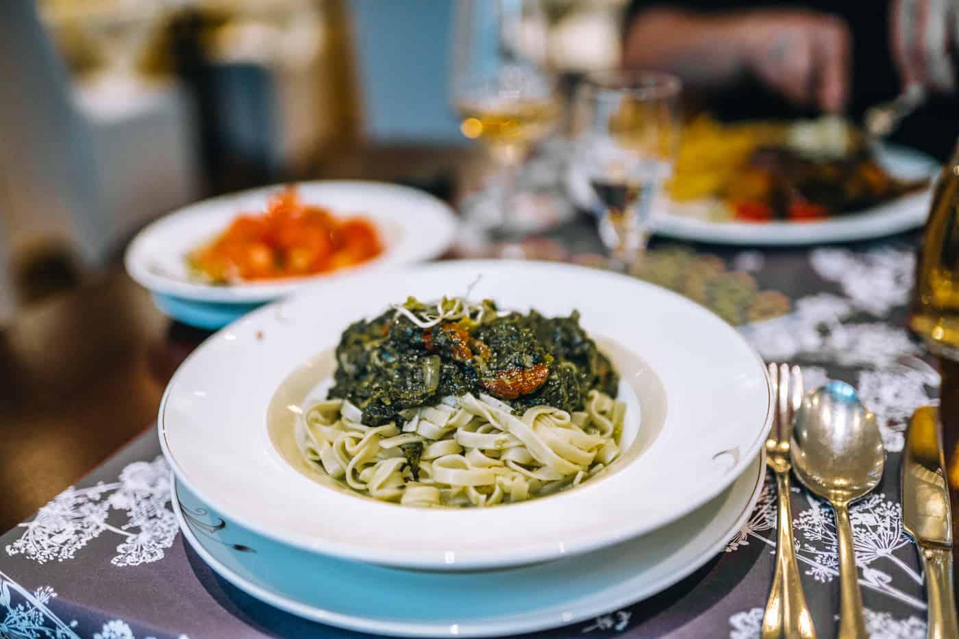 Usedom mit Hund - Restaurant 1900 / Aurelia Hotel St. Hubertus in Heringsdorf: vegetarische Pasta